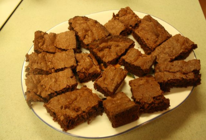 Healthy Peppermint Brownie Mix - Brownies on platter blog - Healthy Peppermint Brownie Mix