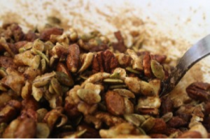 Roasted Maple Nuts - Maple Nuts Stirred 300x199 - Roasted Maple Nuts